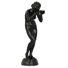 """Trinkender Frauenakt"" Art Nouveau Antique Bronze Sculpture by Victor Seifert circa 1900"
