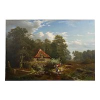 """The Old Red Mill"" Antique Oil Painting by Elisa Agnetus-Emilius Nyhoff (French, 1826-1903)"