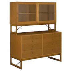 Børge Mogensen Danish Mid Century Modern Oak Bookcase Cabinet over Dresser