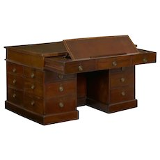 George III Mahogany Partner's Antique Pedestal Writing Table Desk, England circa 1800