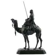 "French Antique Bronze Sculpture ""Arab Rider on Camel"" by Barye & Delafontaine"