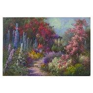"""""""The Garden Bungalow"""" English Antique Oil Painting by Alfred Fonteville de Breanski Jr."""