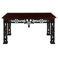 Carved Mahogany English Antique Library Console Table