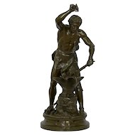 "Antique French Bronze Sculpture of ""Forgeron"" by Adrien-Etienne Gaudez, 19th Century"