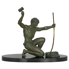 Art Deco Period Cold-Painted Metal Sculpture of Man Hammering Bronze circa 1930s