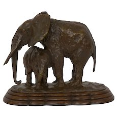 """Elephant with its Young"" French Modernism Bronze Sculpture by Ary Bitter"