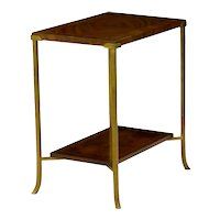 Vintage Mahogany Inlaid Two-Tier Stand Accent Side Table with Flared Brass Legs