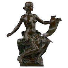 """""""Allegory of History"""" French Bronze Bust Sculpture by Georges Bareau & Barbedienne"""