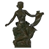 """Allegory of History"" French Antique Bronze Sculpture by Georges Bareau & Barbedienne"
