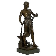 """""""Le Forgeron"""" Antique French Bronze Sculpture of Blacksmith by Jean-Baptiste Germain"""