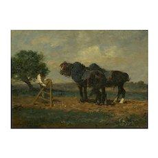"""Preparing the Plow"" Barbizon Painting of Horses by Émile Jacque"