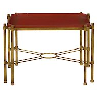 Vintage Gilt Iron Cocktail Table with Red-Painted Wooden Tray, 20th Century