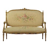 French Louis XVI Style Carved Giltwood Antique Settee Loveseat Sofa, 19th Century