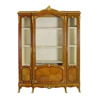French Louis XV Style Antique Bookcase Cabinet Bookshelf by Schmit & Cie c. 1890-1910