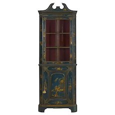 English George III Chippendale Blue Painted Chinoiserie Corner Cabinet Cupboard c. 1780