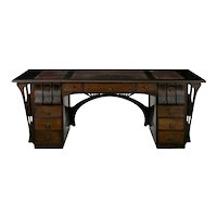 Art Nouveau Ebonized Oak Worn Leather Antique Pedestal Desk