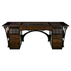 Art Nouveau Ebonized Oak Worn Leather Antique Pedestal Desk