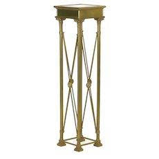 Vintage French Directoire Style Brass Pedestal Accent Table in Jansen Taste