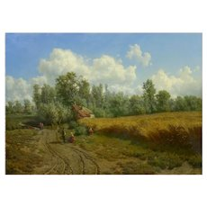 """Summer Landscape"" Oil on Canvas Painting by Jean-Baptiste Kindermans (Belgian, 1822-76)"