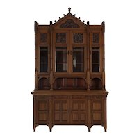 Rare Aesthetic Movement Walnut Breakfront Bookcase Cabinet circa 1885