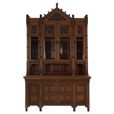 Rare Aesthetic Movement Walnut Breakfront Bookcase Cabinet circa 1885