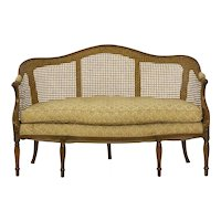 French Louis XVI Carved Fruitwood Antique Settee Sofa, circa late 18th century