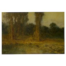 """Trees by a Pool"" Oil Landscape Painting by Ralph Davison Miller (California, 1858-1945)"