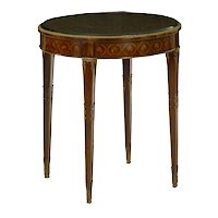French Louis XVI Style Antique Gilt Bronze Circular Round Accent Table c. 1890