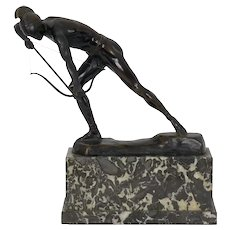 """The Enemy Below"" Art Deco Bronze Sculpture of an Archer by Otto Schmidt-Hofer"