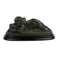 "French Bronze Sculpture ""Tiger Devouring a Gavial"" after Antoine-Louis Barye"