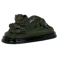 """Tiger Devouring a Gavial"" Bronze Sculpture after Antoine-Louis Barye, late 19th century"