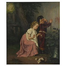 """""""A Good Sister"""" Antique Oil Painting, British School (19th Century)"""