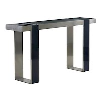 Vintage Minimalist Modern Matte and Blue Enamel Steel Console Table