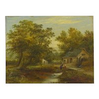 """A Small Mill"" Antique Landscape Painting by Mark Dockree (English, 1856-1901)"