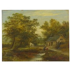 """""""A Small Mill"""" Antique Landscape Painting by Mark Dockree (English, 1856-1901)"""