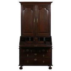 English Queen Anne Style Oak Antique Secretary Desk w/ Bookcase, 18th Century