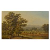 Antique 19th Century Hudson River Valley Oil Landscape Painting