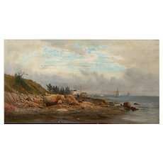 """American Antique Landscape Painting """"Boats off a Rocky Coast"""" by Carl Philipp Weber"""