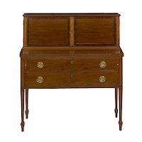 American Federal Inlaid Mahogany Antique Secretary Writing Desk ca. 1790-1810
