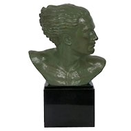 """Bust of Jean Mermoz"" French Art Deco Bronze Sculpture by Lucien Gibert circa 1930s"