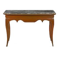 Louis XV Style Painted Marble Top Accent Console Table, 19th Century