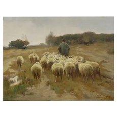 """""""Heading to Pasture"""" Antique Barbizon Landscape Painting signed Franz de Beul"""
