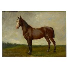 John Lewis Shonborn (American, 1852-1931) Equestrian Oil Painting of Thoroughbred