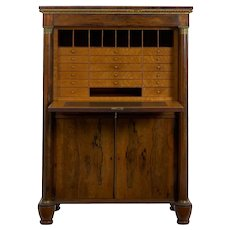 William IV Antique Rosewood Writing Desk Secrétaire á Abattant, English circa 1835