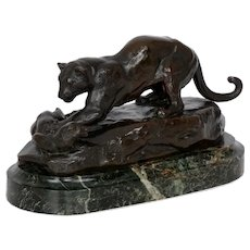 """Panther Attacking a Civet"" Early French Antique Bronze Sculpture by Antoine-Louis Barye"