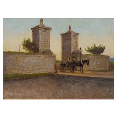 """The City Gate, St. Augustine, Florida 1893"" Antique Oil Painting after John Stoddard"