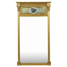 American Federal Giltwood Eglomise Antique Pier Mirror c. 1805-15