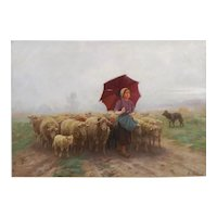 """Leading Her Flock"" French Antique Barbizon Landscape Painting by Martin Coulaud"