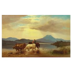 """Homeward Bound"" (1863) Antique American Landscape Painting by Albert Fitch Bellows"
