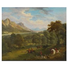"British School (19th Century) Antique Oil Landscape Painting of ""A Hunting Party"""